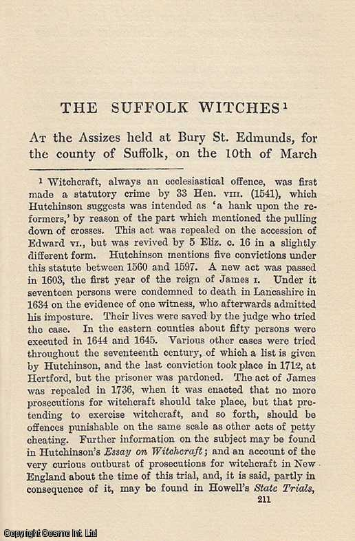 The Suffolk Witches. An article from State Trials Political and Social., H.L. Stephen. (Editor)