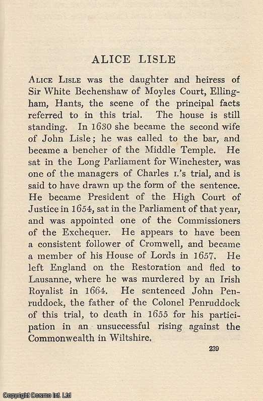 Alice Lisle. An article from State Trials Political and Social., H.L. Stephen. (Editor)