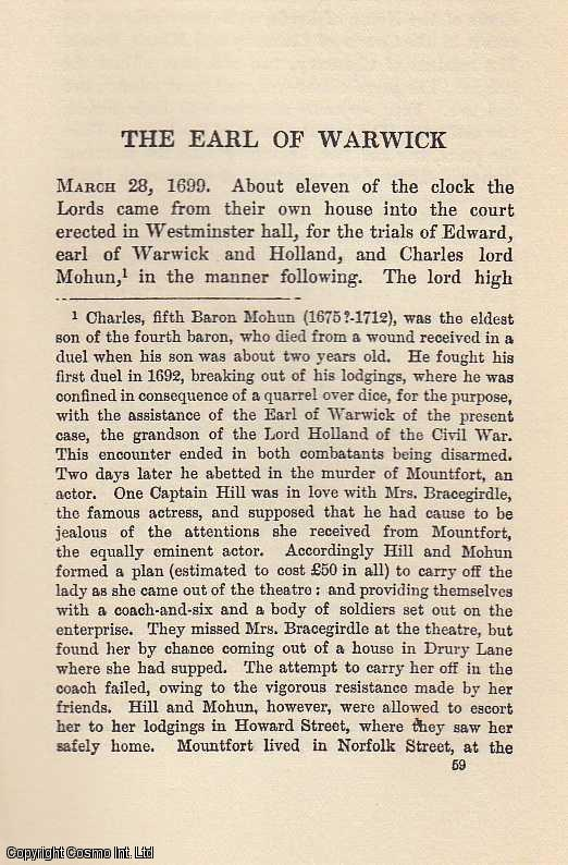 The Earl of Warwick. An article from State Trials Political and Social., H.L. Stephen. (Editor)