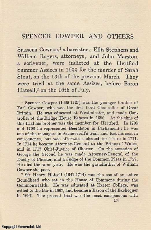 Spencer Cowper and Others. An article from State Trials Political and Social., H.L. Stephen. (Editor)