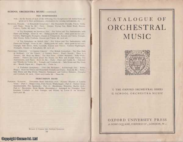 Catalogue Of Orchestral Music I. The Oxford Orchestral Series II. School Orchestral Music, Whittaker W Gillies [Edited By]
