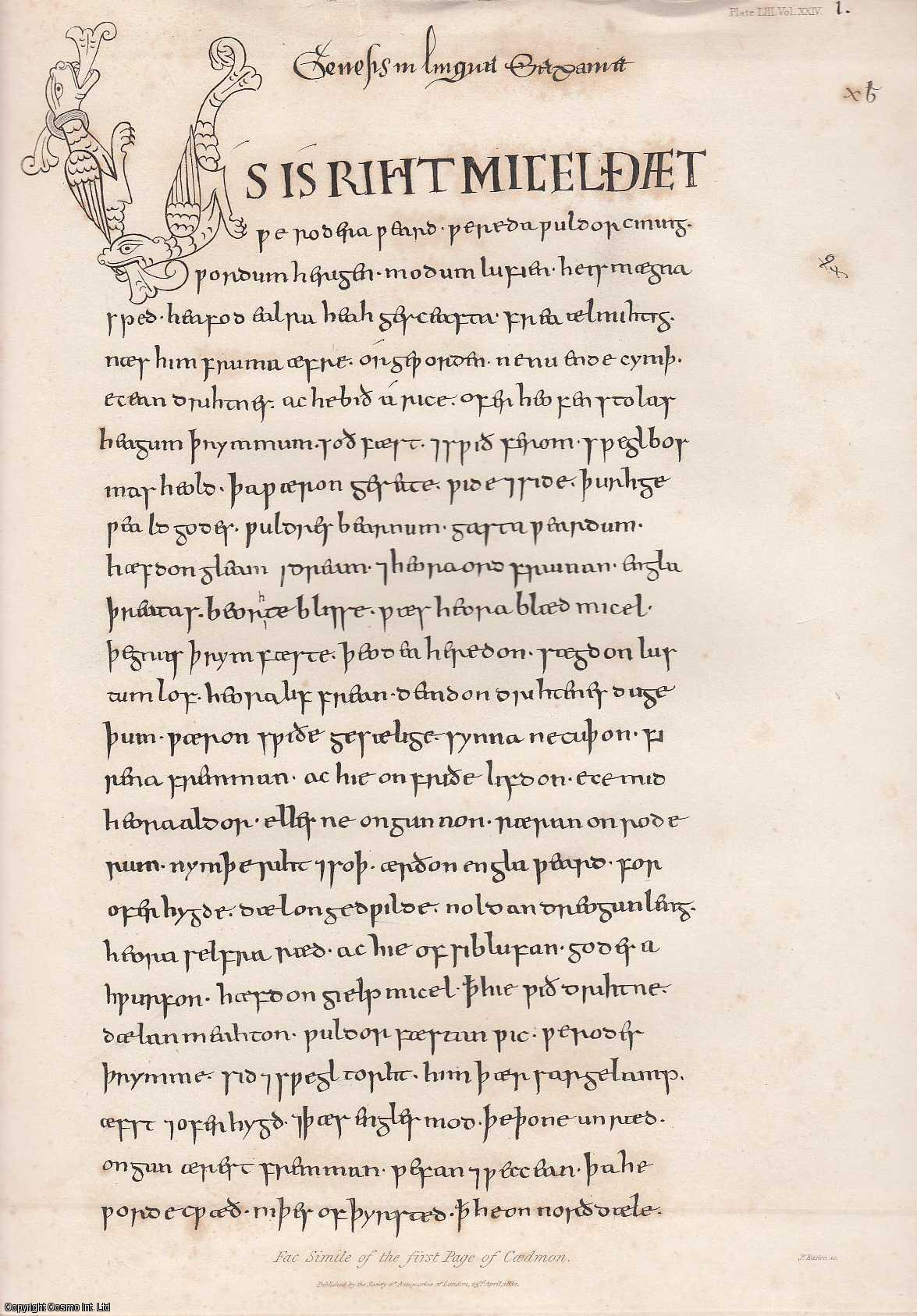 Account of Caedmon's Metrical Paraphrase of Scripture History, an illuminated Manuscript of the Tenth Century, preserved in the Bodleian Library at Oxford., Henry Ellis, Esq., F.R.S. (communicated by)