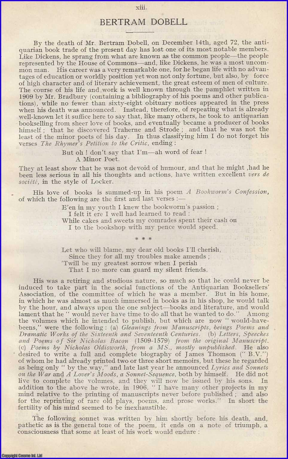 KERSLAKE, FRANK - Bertram Dobell A rare original article from the Book Auction Records, 1915.