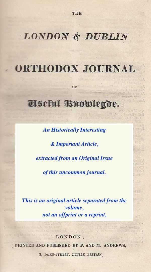 On appropriate Sepulchral Inscriptions. A short article in The London and Dublin Orthodox Journal, October 26, 1844. Together with other brief varied pieces., ---.