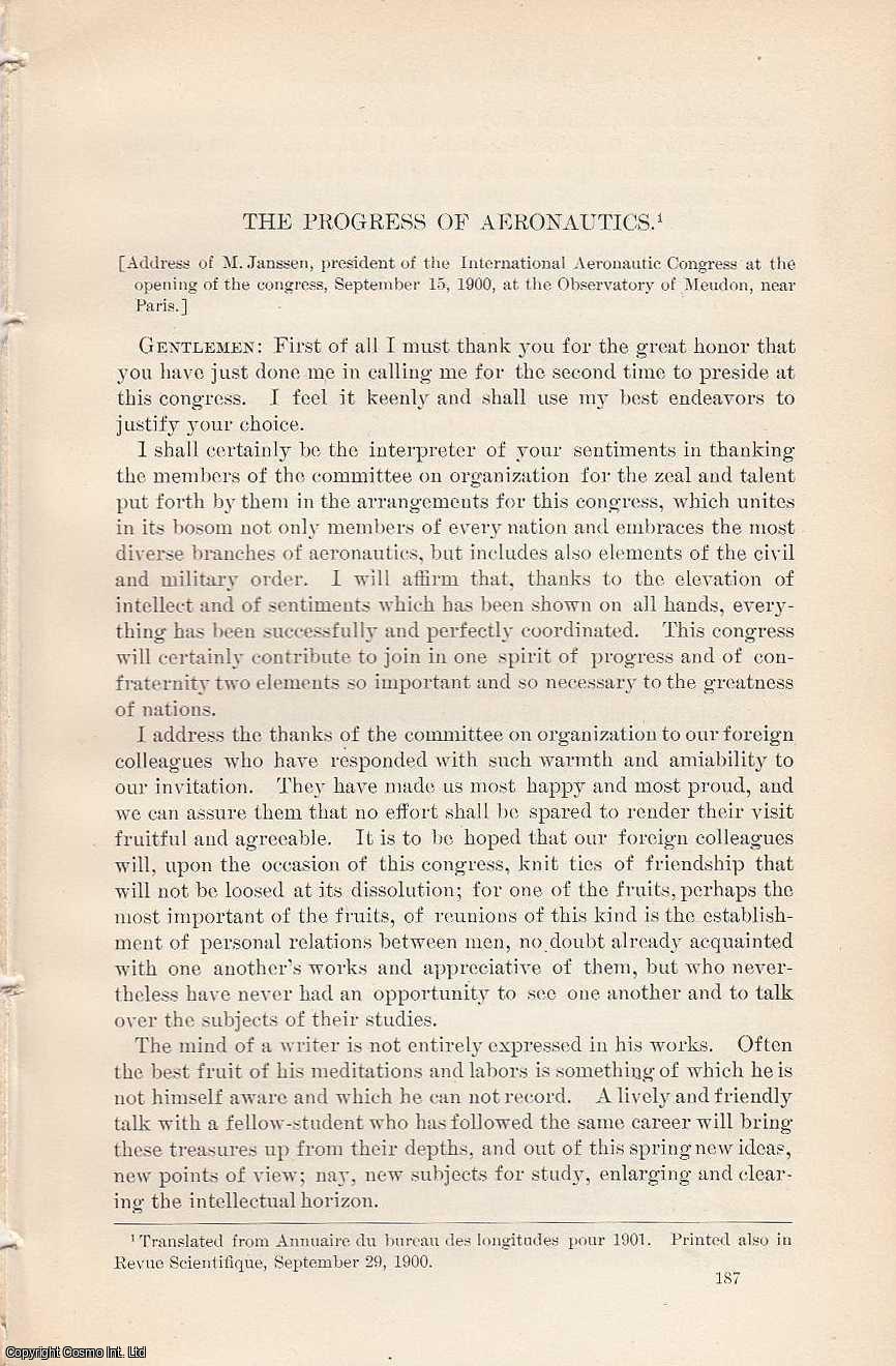 JANSSEN, M. - Progress of Aeronautics. An original article from the Report of the Smithsonian Institution, 1900.