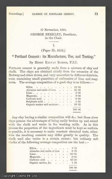 Portland Cement: Its Manufacture, Use, and Testing., Bamber, Henry Kelway