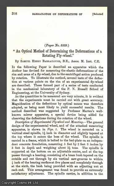 An Optical Method of Determining The Deformations of a Rotating Fly-Wheel., Barraclough, Samuel Henry