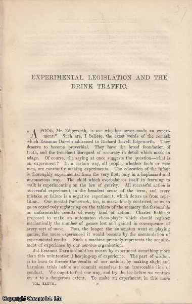 Alcohol, Intemperance, and Legislation. A collection of 14 interesting articles published between 1878 and 1880, chiefly concerned with regulating and controlling alcohol, the physical and social effects of it, and how best to address these issues., W. Stanley Jevons; Alexander Balfour; James Paget; T. Lauder Brunton; Albert J. Bernays; William W. Gull; Charles Murchison; Walter Moxon; Samuel Wilks; James Risdon Bennett; C.B. Radcliffe; Joseph Kidd; R. Brundenell Carter; A.B. Garrod.