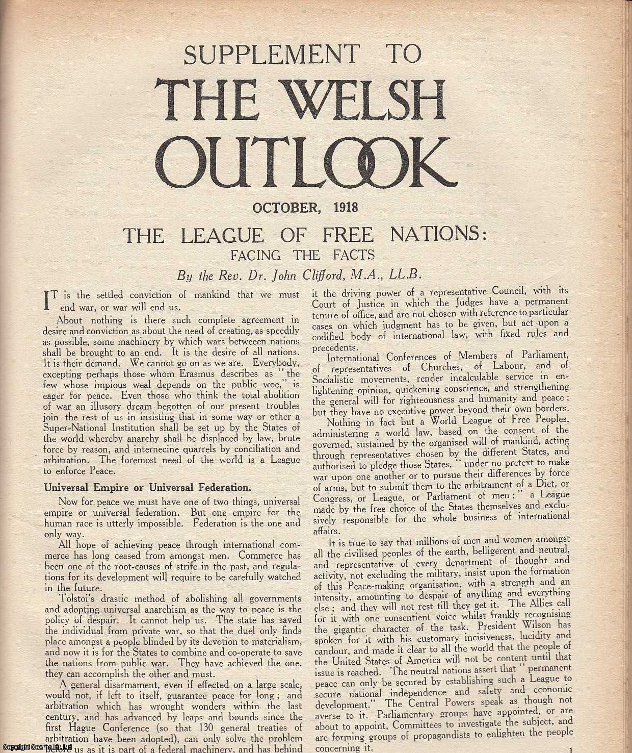 The Welsh Outlook. A Monthly Journal of National Social Progress, Supplement, October 1918.  The League of Free Nations: Facing The Facts by Rev. Dr. John Clifford., Thomas Jones (Editor)