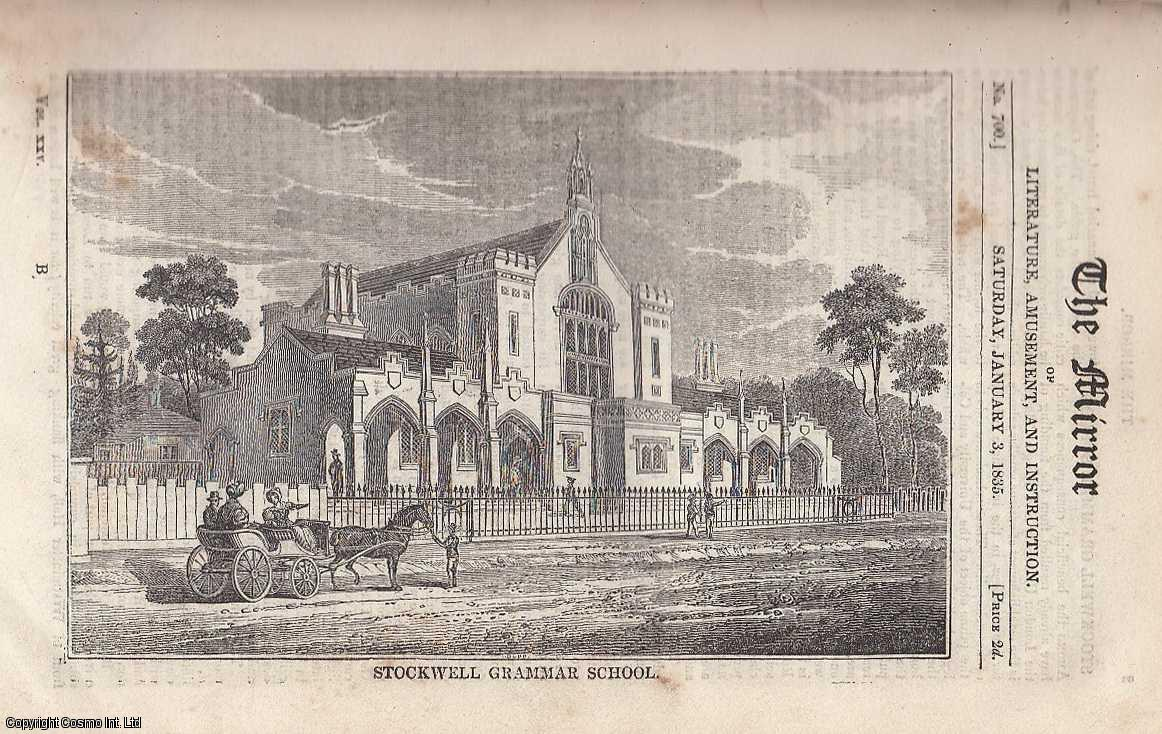 Stockwell Grammar School.  FEATURED in The Mirror of Literature, Amusement, and Instruction., ---.