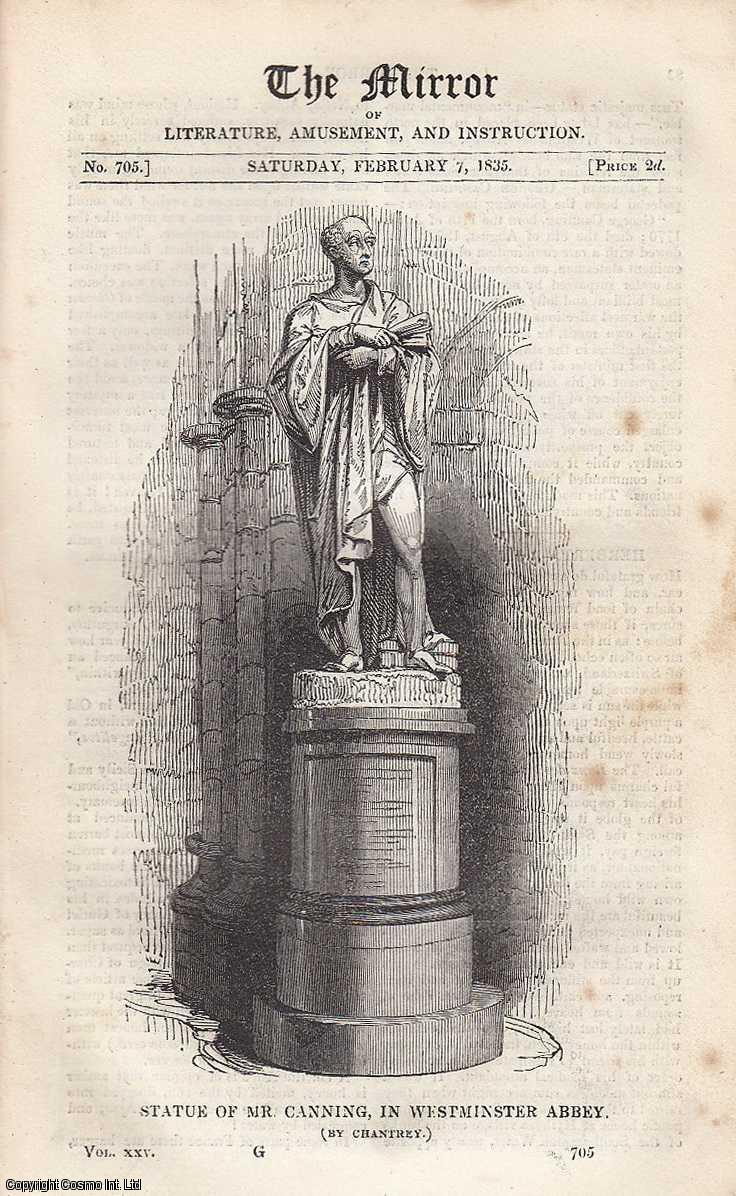 Statue of Mr. Canning, in Westminster Abbey. FEATURED in The Mirror of Literature, Amusement, and Instruction., ---.