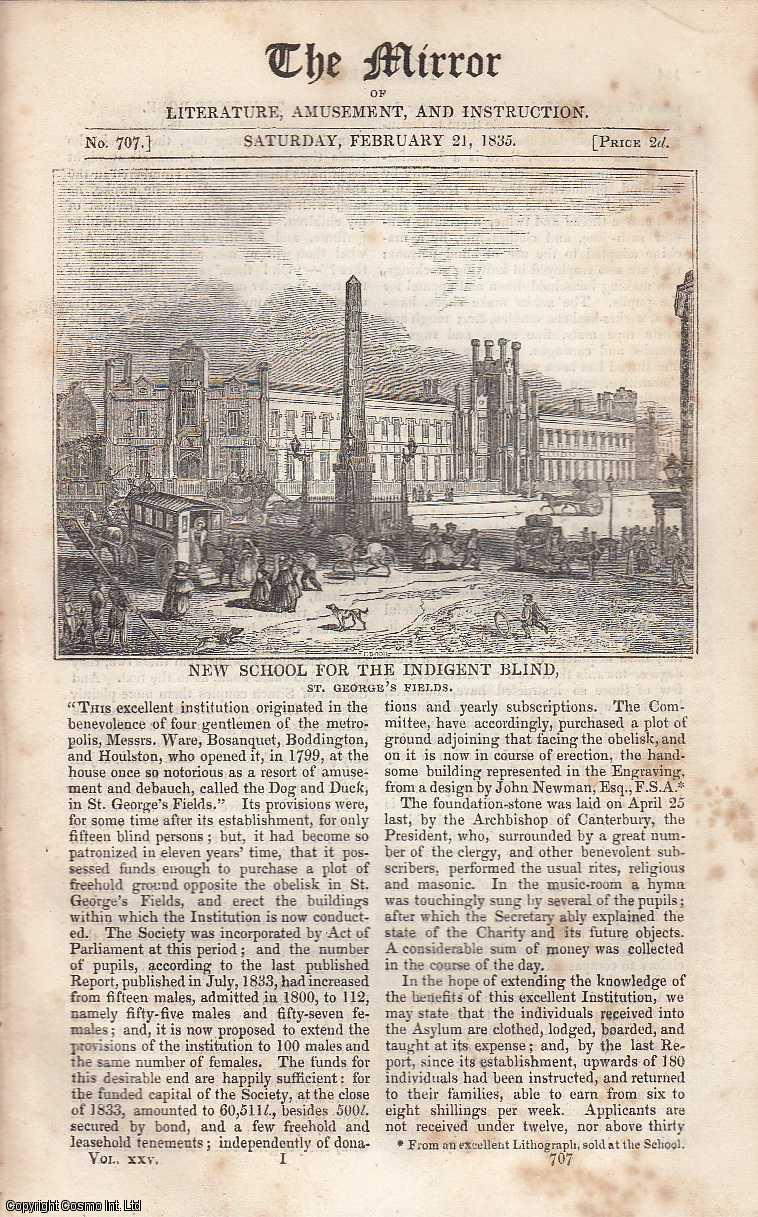 New School for The Indigent Blind (St. George's Fields). FEATURED in The Mirror of Literature, Amusement, and Instruction., ---.
