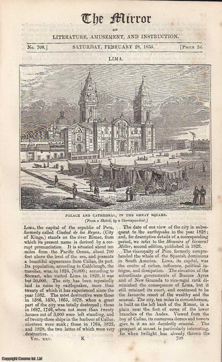 Lima (Palace and Cathedral, in The Great Square). FEATURED in The Mirror of Literature, Amusement, and Instruction., ---.