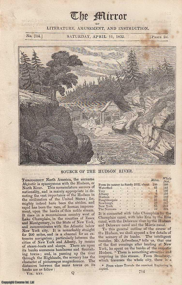 Source of The Hudson River (North America). FEATURED in The Mirror of Literature, Amusement, and Instruction., ---.