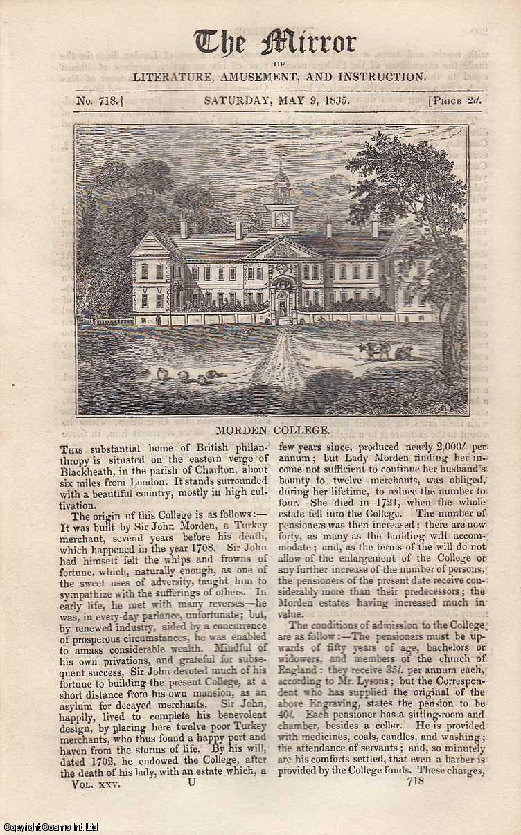 Modern College: The Substantial home of British philanthropy, situated on the eastern verge of Blackheath, in the Parish of Charlton. FEATURED in The Mirror of Literature, Amusement, and Instruction., ---.