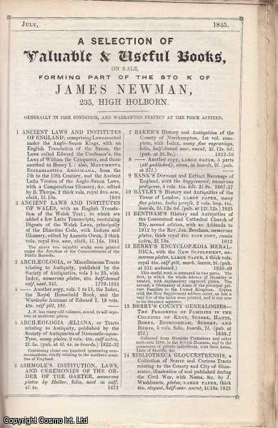 Booksellers Catalogues. An interesting collection of five original catalogues released in 1845, with sample pages, advert sheets, and other material. Includes catalogues by James Newman, George Bell, John Petheram, Miller., ---.
