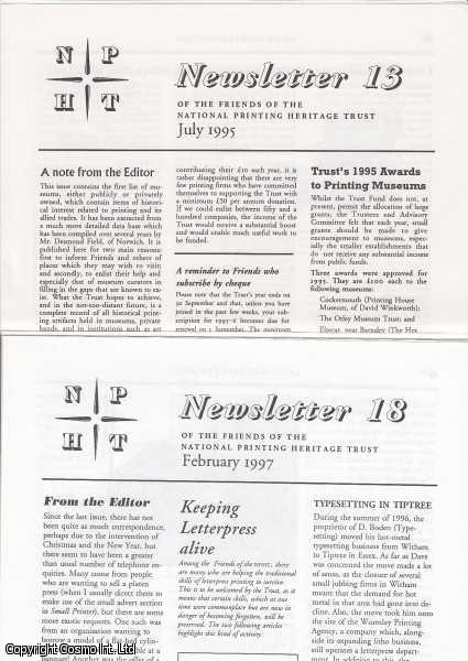 Newsletter of the Friends of the National Printing Heritage Trust. Issues 13, 14, 15, 16, 17, 18, 19, & 21. July 1995 to March 1998., National Printing Heritage Trust.
