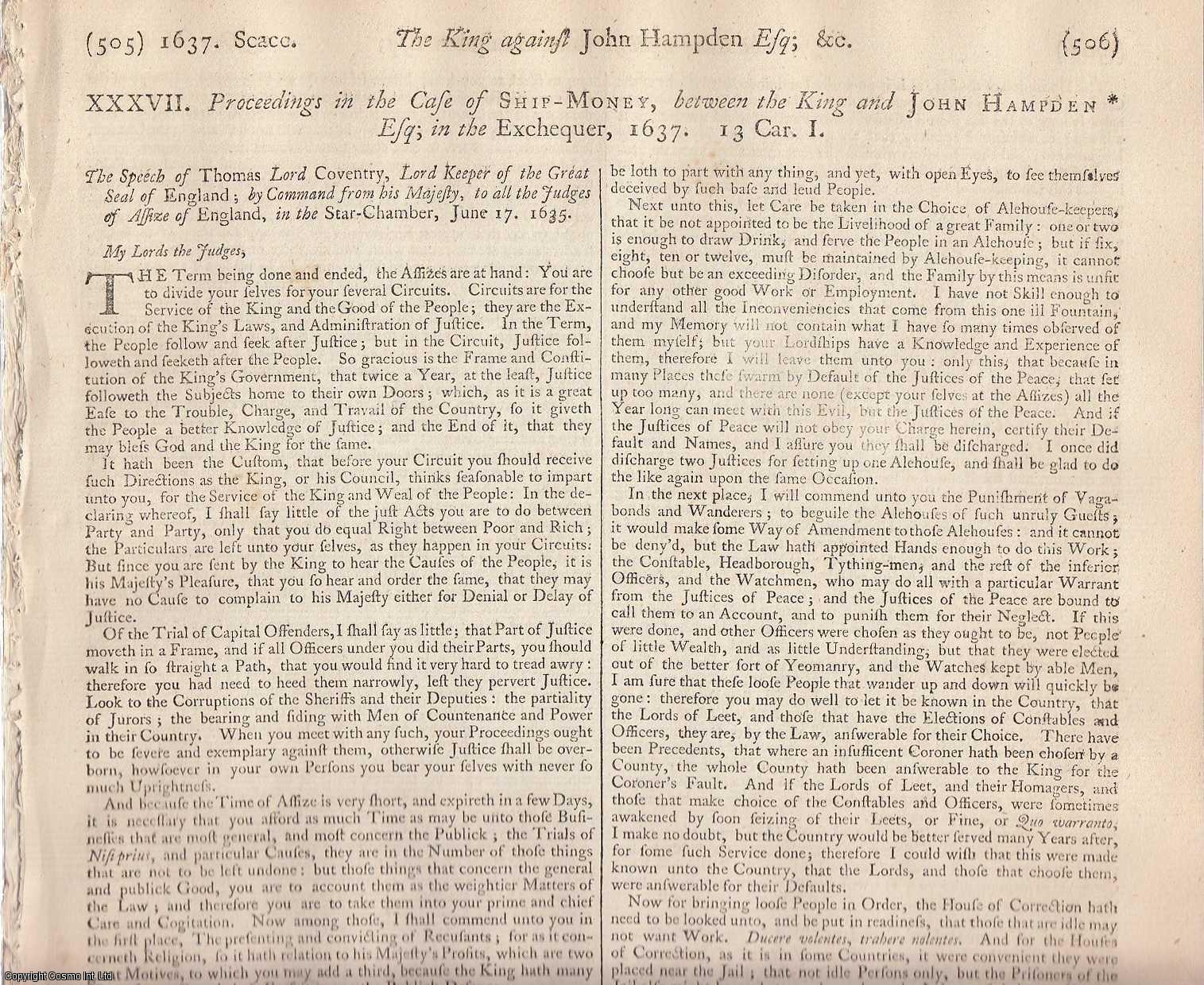 SHIP MONEY TAX. Proceedings in the Case of Ship Money between the King and John Hampden Esq, 1637., [Trial].