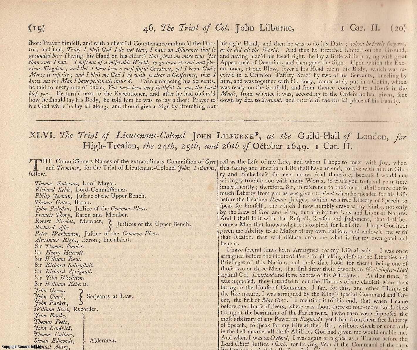 LEVELLERS & FREEBORN RIGHTS. The Trial of Lieutenant-Colonel John Lilburne, at the Guild Hall of London, for High Treason, the 24th, 25th, and 26th of October 1649. Along with The Examination of the Jury who try'd Lietenant-Colonel John Lilburne., [Trial].