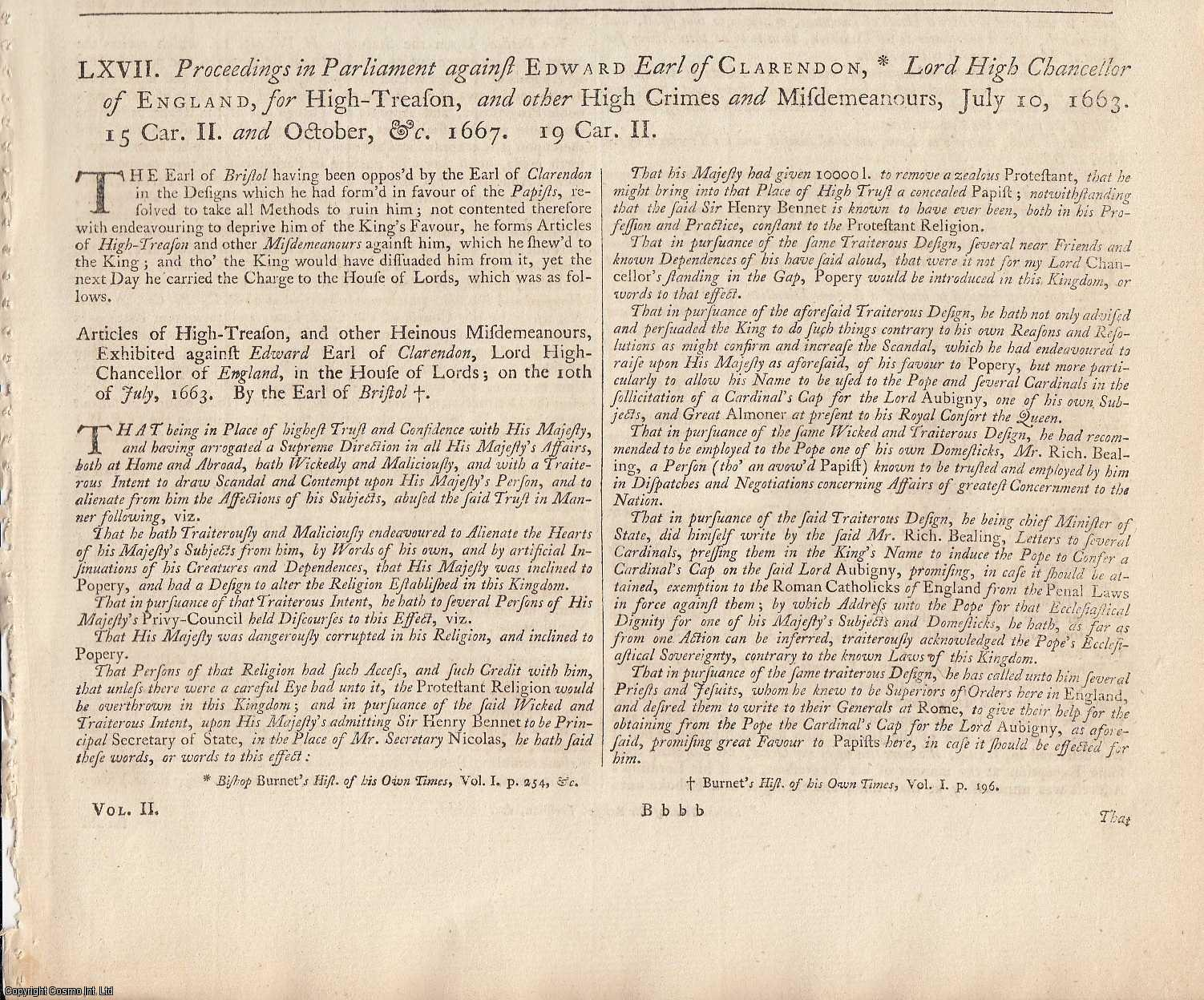 LORDS PROPRIETOR OF THE COLONY OF CAROLINA.  Proceedings in Parliament against Edward Earl of Clarendon, Lord High Chancellor of England, for High Treason, and other High Crimes and Misdemeanours, July 10, 1663 and October, &c., 1667., [Trial].
