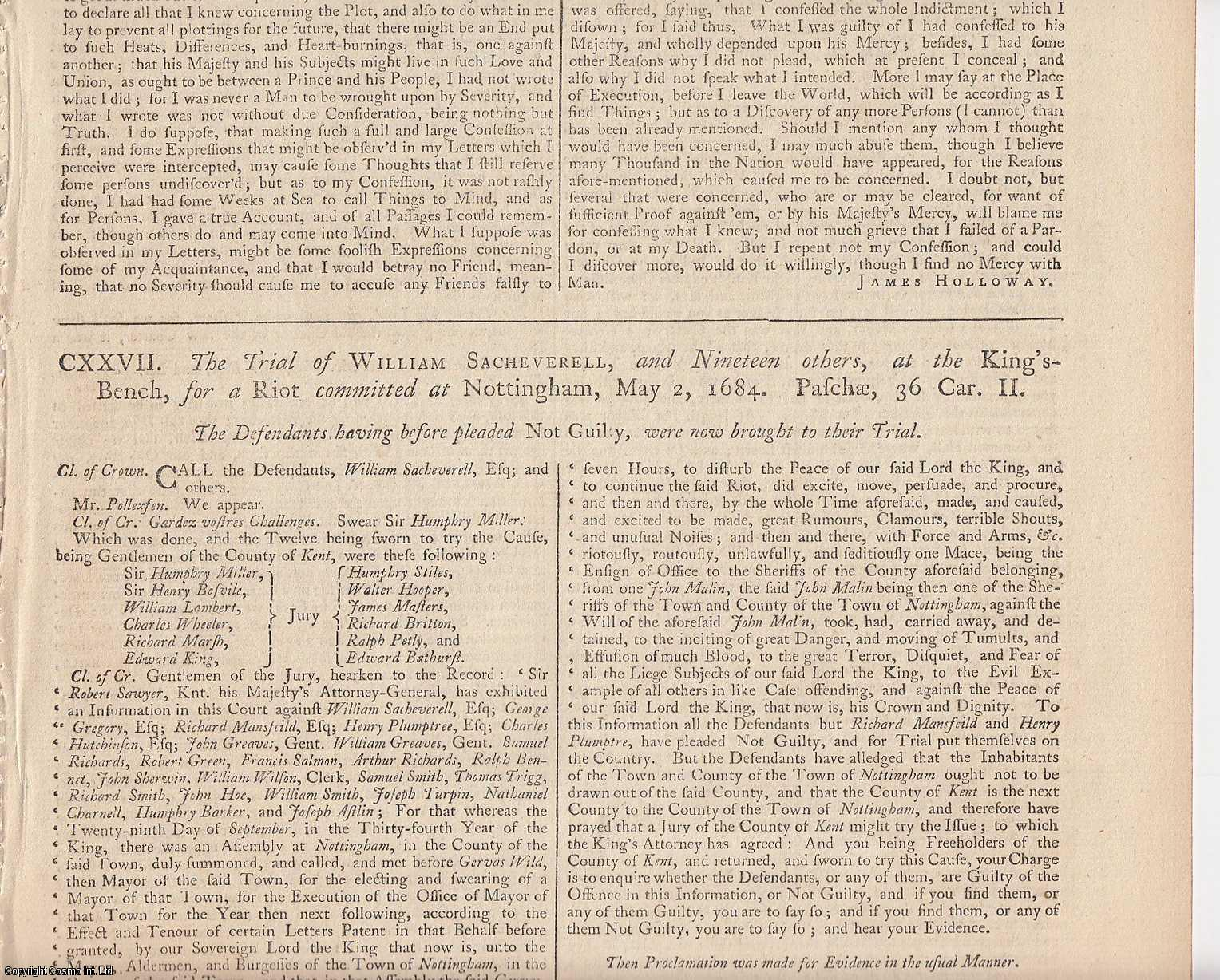 NOTTINGHAM RIOTS.  The Trial of William Sacheverell, and Nineteen others, at the King's Bench, for a Riot committed at Nottingham, May 2 1684. ALONG WITH The Case of the Corporation of Nottingham, as it was stated by the late William Sacheverell, of Barton, Esq., [Trial].