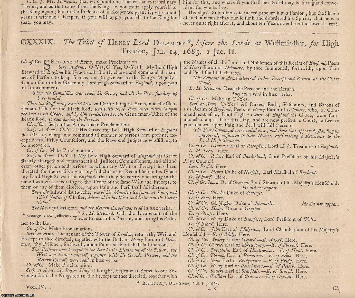 MONMOUTH REBELLION.  The Trial of Henry Lord Delamere, for High Treason, 1685., [Trial].
