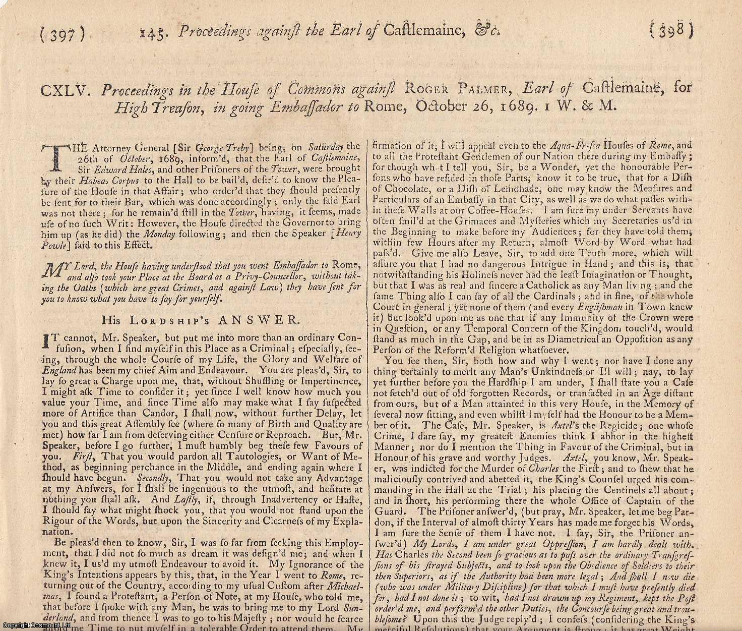 NOTED CATHOLIC WRITER.  The Trial of Roger Palmer, esq. Earl of Castlemaine, in the Kingdom of Ireland, at the King's Bench, for High Treason, AD 1680., [Trial].