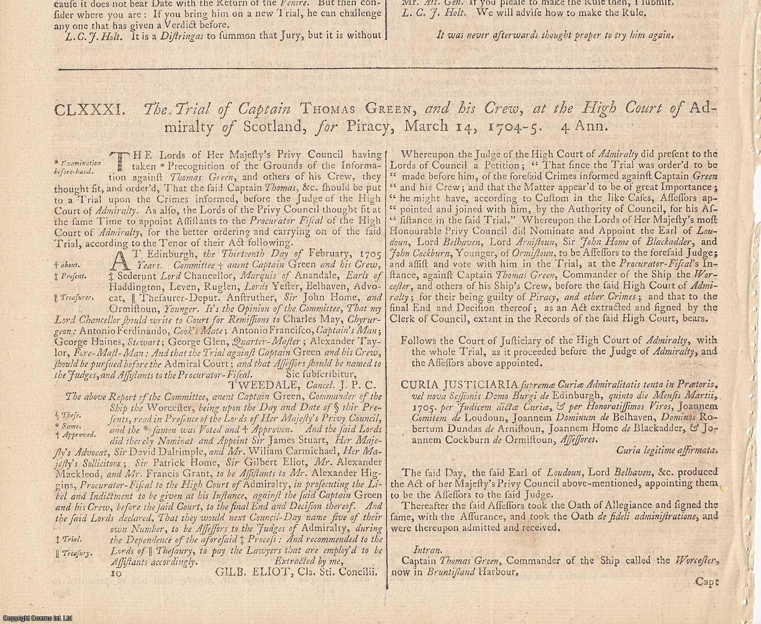 EAST INDIA COMPANY REVENGE.  The Trial of Captain Thomas Green, and his Crew, at the High Court of Admiralty of Scotland, for Piracy, March 14, 1704., [Trial].