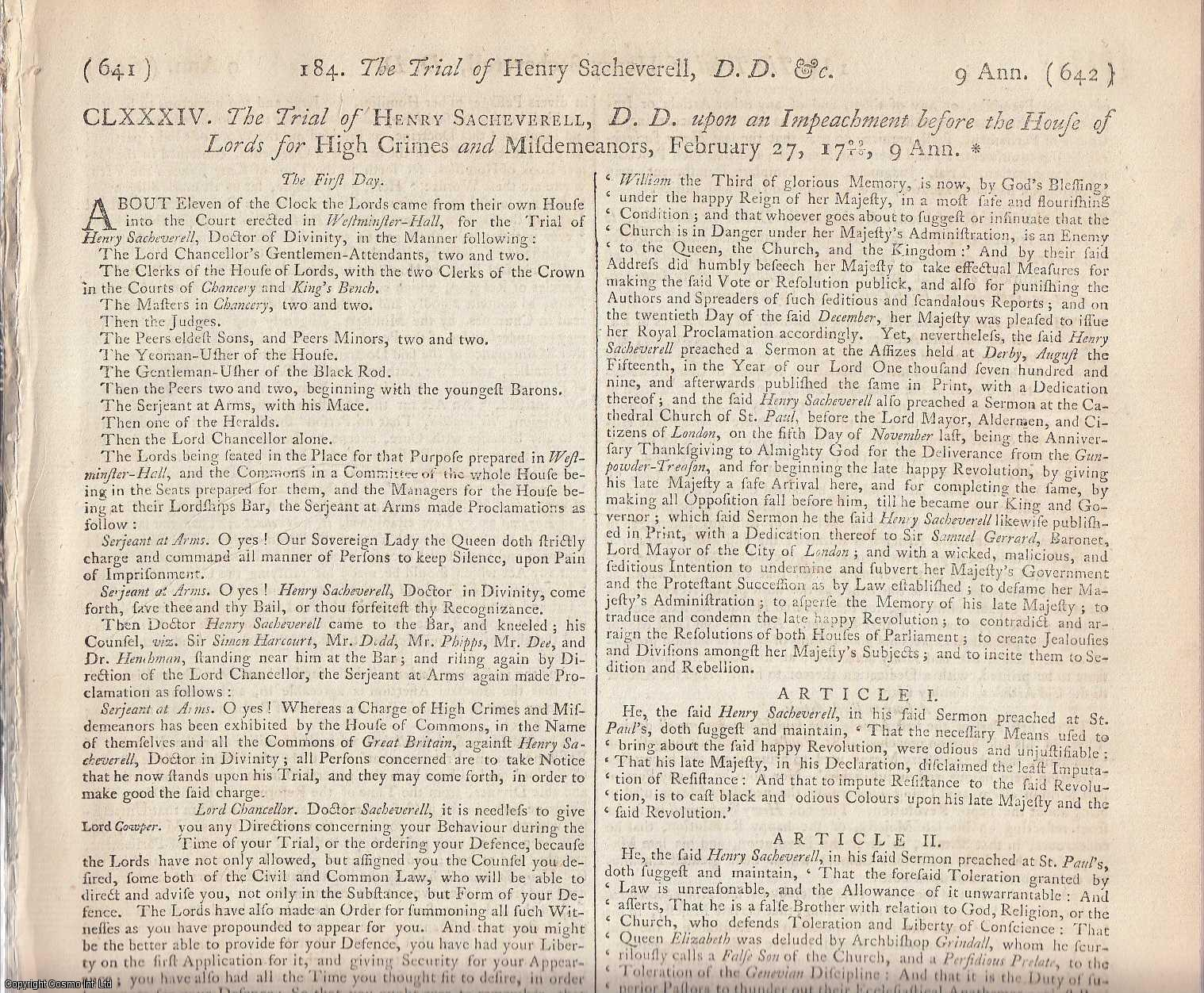 SACHEVERELL RIOTS.  The Trial of Henry Sacheverell DD, upon an Impeachment before the House of Lords for High Crimes and Misdemeanours, February 27, 1709., [Trial].