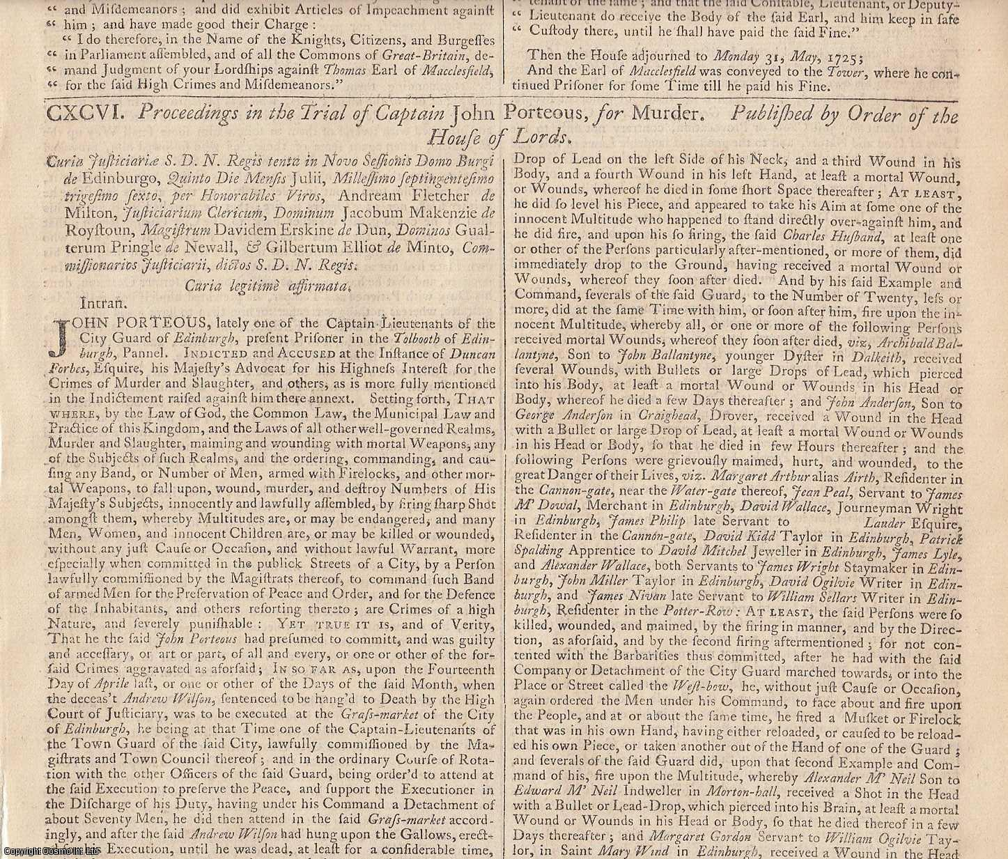 PORTEOUS RIOT.  Proceedings in the Trial of Captain John Porteous, for Murder. Published by Order of the House of Commons. 1725., [Trial].