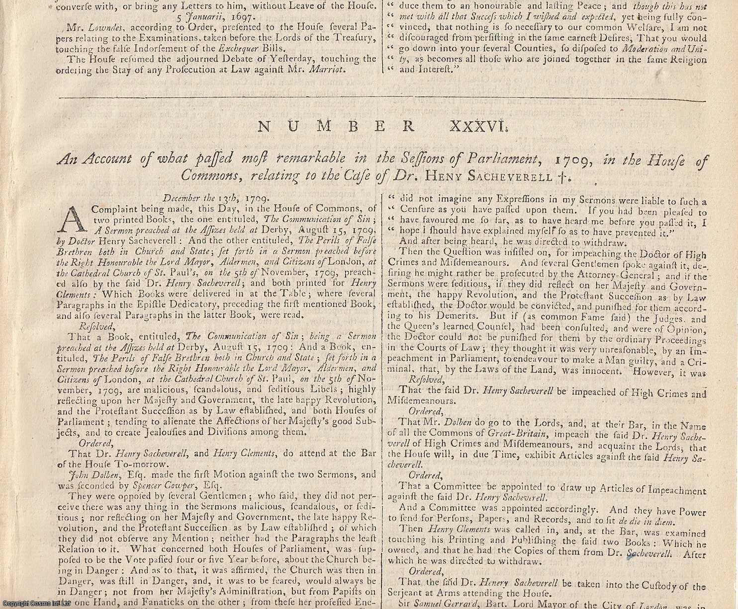 ATTACK ON DISSENTERS.  An Account of what passed most remarkable in the Sessions of Parliament, 1709, in the House of Commons, relating to the Case of Dr. Henry Sacheverell., [Trial].