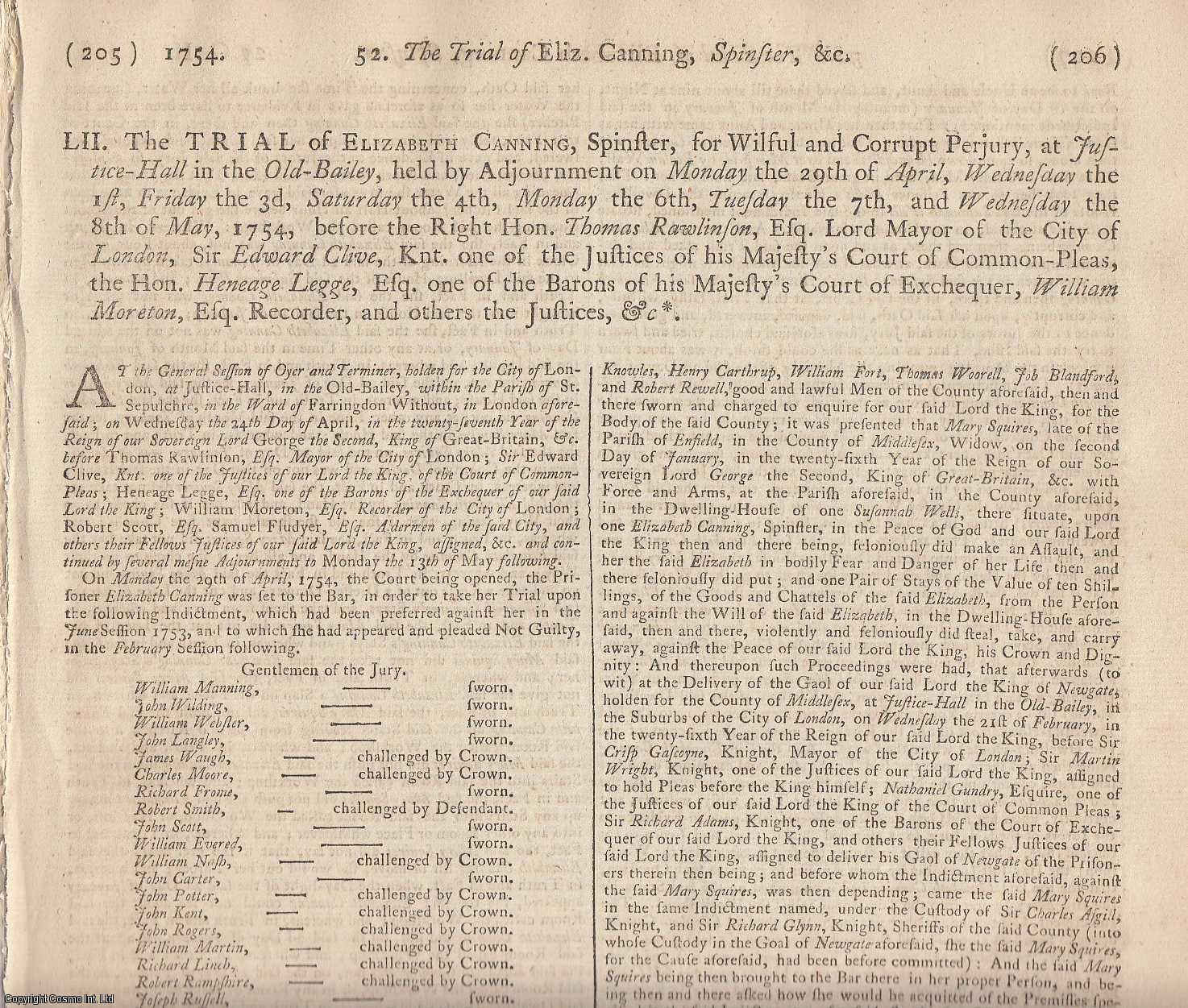 TRANSPORTED TO CONNECTICUT, AMERICA.  The Trial of Elizabeth Canning, Spinster, for Wilful and Corrupt Perjury, at Justice Hall in the Old Bailey, held By Adjournment? 1754. [The Case of Ashley and Simons the Jew]., [Trial].