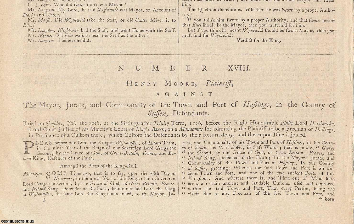 CINQUE PORTS.  Henry Moore, Plaintiff, against The Mayor, Jurats, and Community of the Town and Port of Hastings, in the County of Sussex, Defendants. Tuesday, July the 20th, 1736., [Trial].