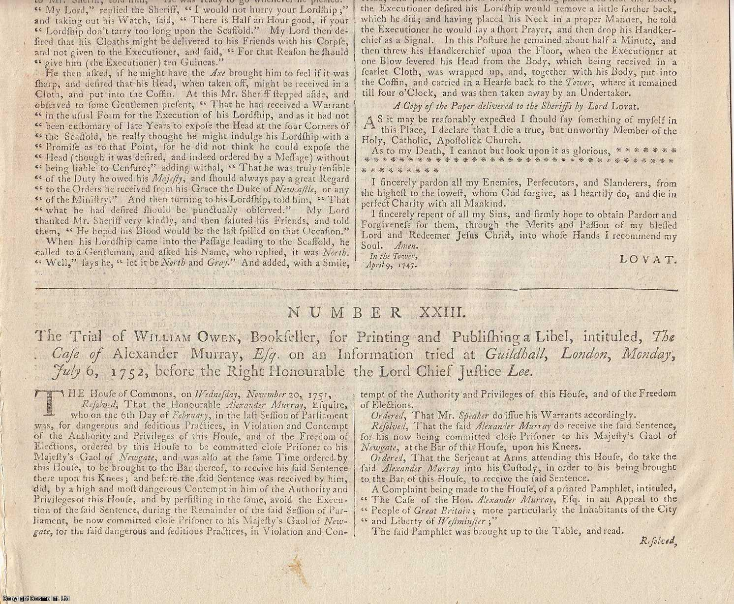 BOOKSELLER LIBEL.  The Trial of William Owen, Bookseller, for Printing and Publishing a Libel, intituled, The Case of Alexander Murray, Esq. on an Information tried at Guildhall, London, Monday, July 6, 1752, before the Right Honourable the Lord Chief Justice Lee., [Trial].