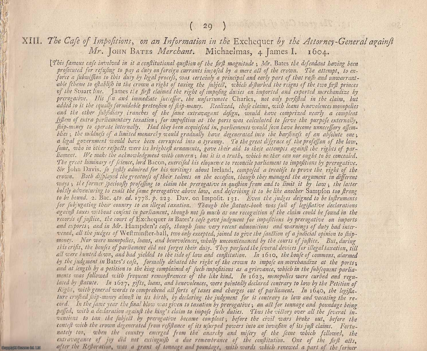 THE LEVANT COMPANY.  The Case of Impositions, on an Information in the Exchequer by the Attorney General against Mr John Bates, Merchant. 1604., [Trial].