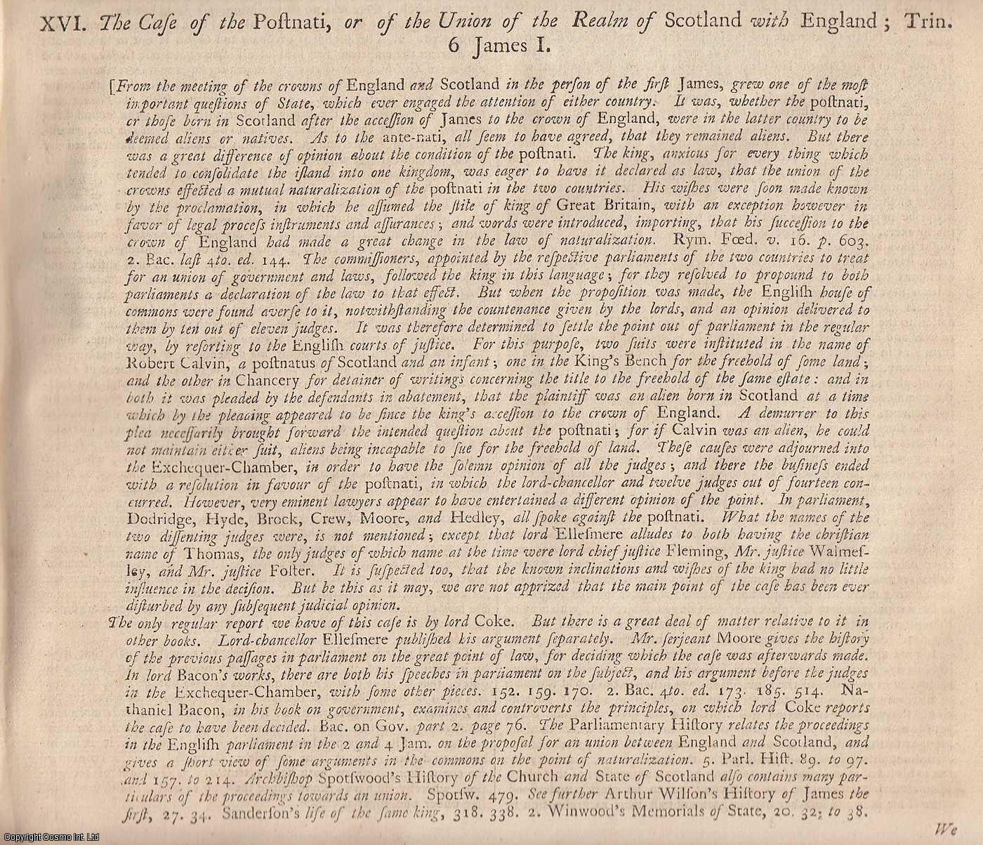 CALVIN'S CASE, JUS SOLI.  The Case of the Postnati, or of the Union of the Realm of Scotland with England. 1608., [Trial].