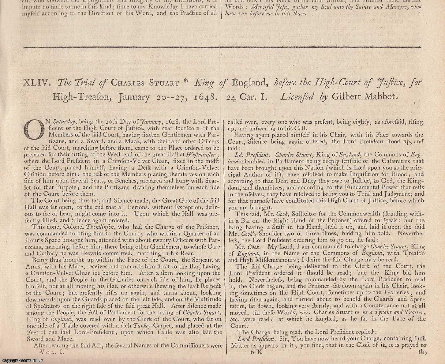 CHARLES I, 1649 & THE REGICIDES, 1660.  An important collection of State Trials & Reports, featuring the Trial of Charles I, for High Treason, 1649, and the Trials of 29 Regicides for the killing of Charles I, together with other related reports. Together with The Indemnity & Oblivion Act of 1660, Charles II, from Statutes at Large 1735., [Trial].