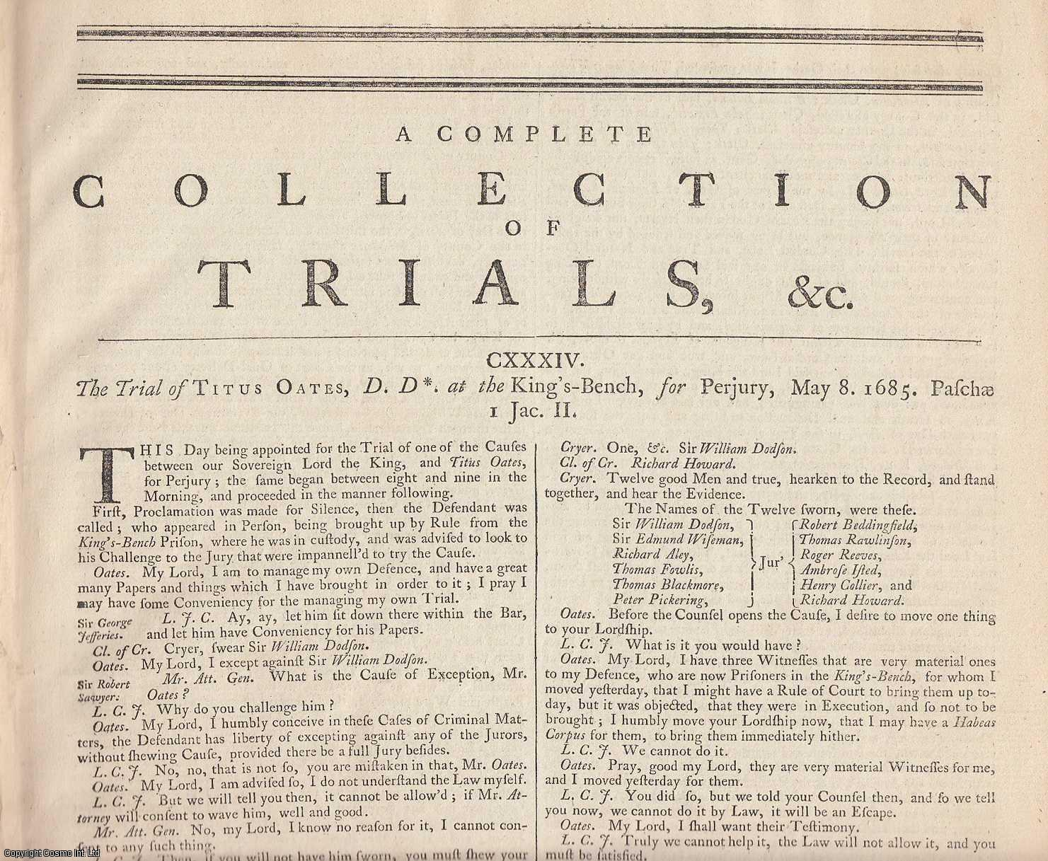 POPISH PLOT, 1678-1685.  An outstanding collection of State Trials & Reports, featuring the Trial of Titus Oates and Others, for plotting the killing of Charles II., [Trial].
