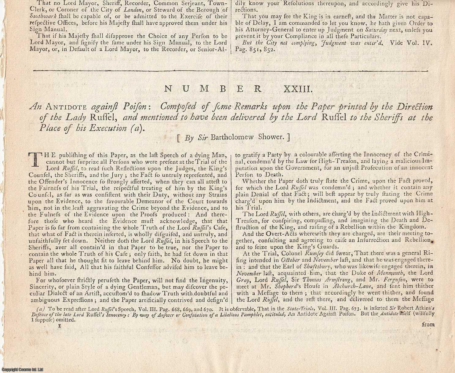 RYE HOUSE PLOT, 1683.  A comprehensive collection of State Trials & Reports, featuring the trial reports of the main conspirators in the Plot to assassinate Charles II and his brother James Stuart.  Contains 11 trial reports and 8 other reports., [Trial].