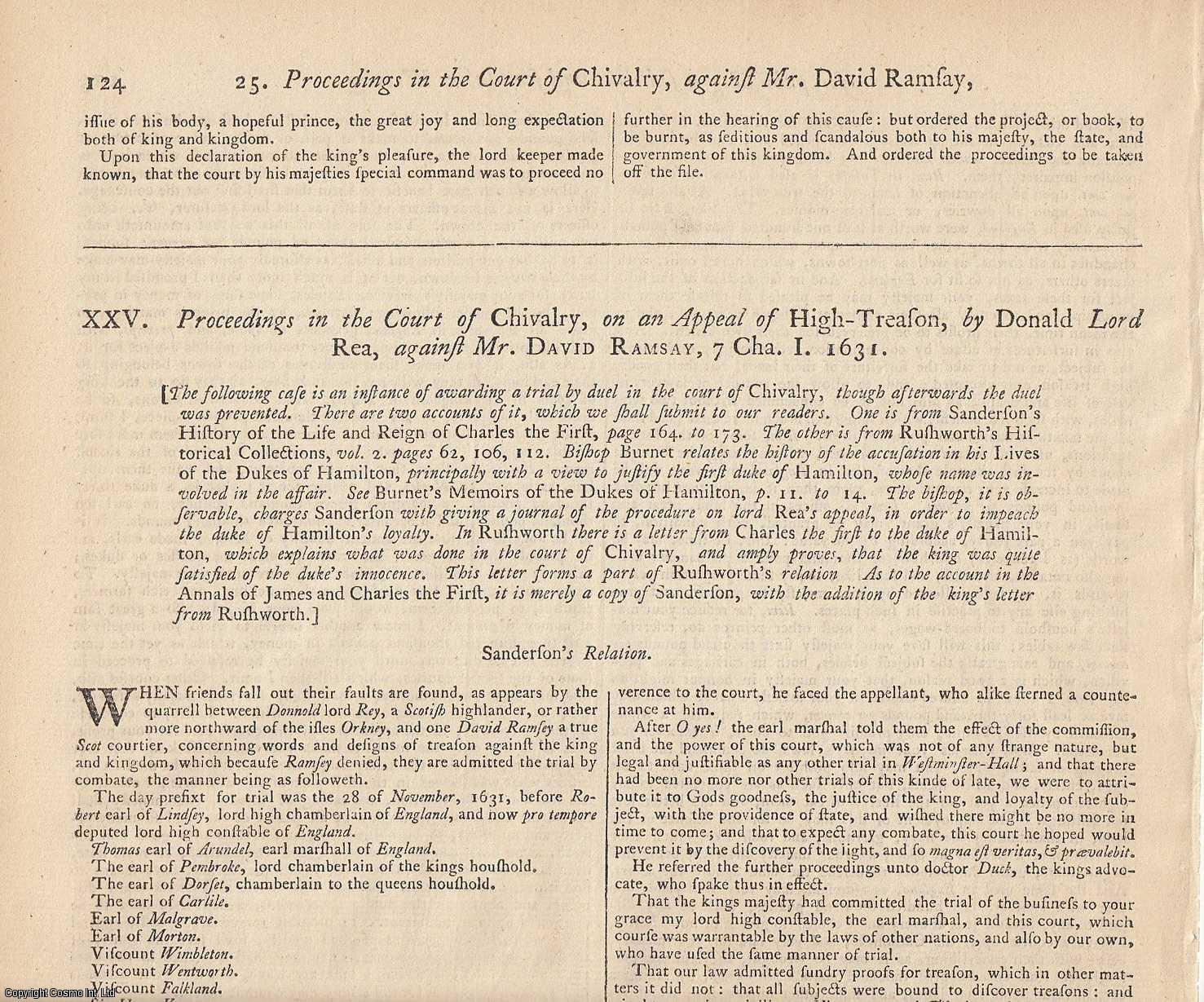 DUELLING, 1615-1631. An entertaining pair of State Trials & Reports, featuring two Duelling Trials of 1615 and 1631 in the Star Chamber and the Court of Chivalry., [Trial].