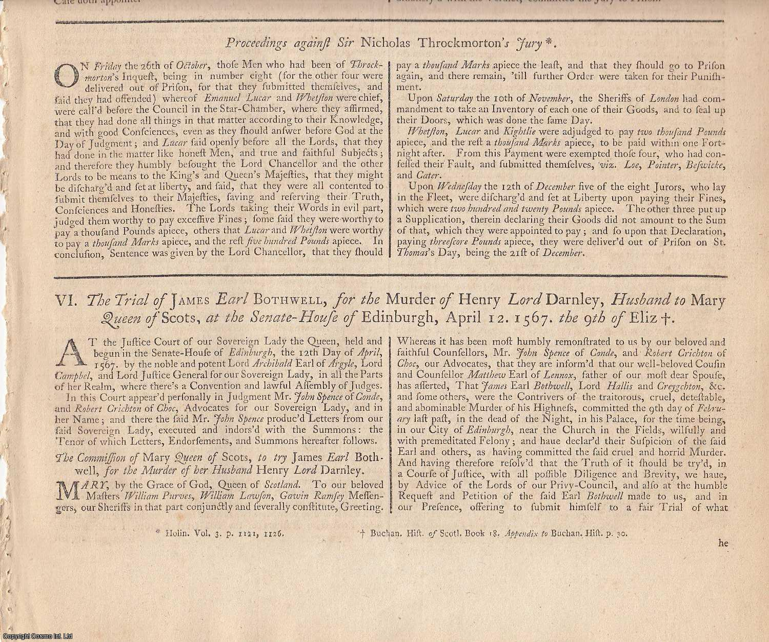 MARY QUEEN OF SCOTS, 1567.  An extensive collection of State Trials and Reports, featuring the Trial of Mary Queen of Scots for High Treason, the Trial of Bothwell for the Murder of Darnley, and other related reports, including the unusual  Arraignment of William Davison for the killing of Mary., [Trial].