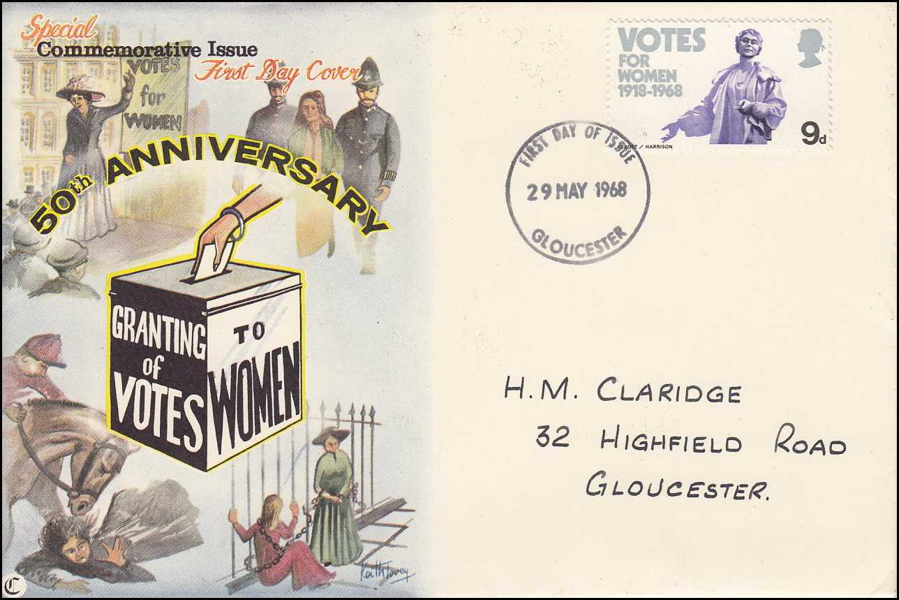 --- - Female Suffrage. Granting of Votes to Women. 50th Anniversary. 29th May 1968. Royal Mail Special Commemorative Issue First Day Cover. Franked Gloucester, First Day of Issue. 29th May 1968.