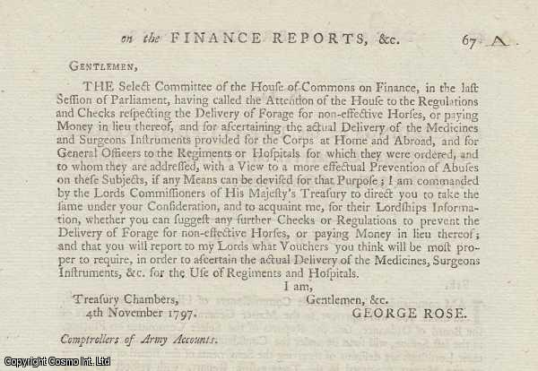 MILITARY HOSPITALS.  A short interesting printed letter regarding the delivery of Medicines, Surgeons, Instruments and Forage for non-effective Horses at Home and Abroad to the Army (or payment in lieu). 1797., ---