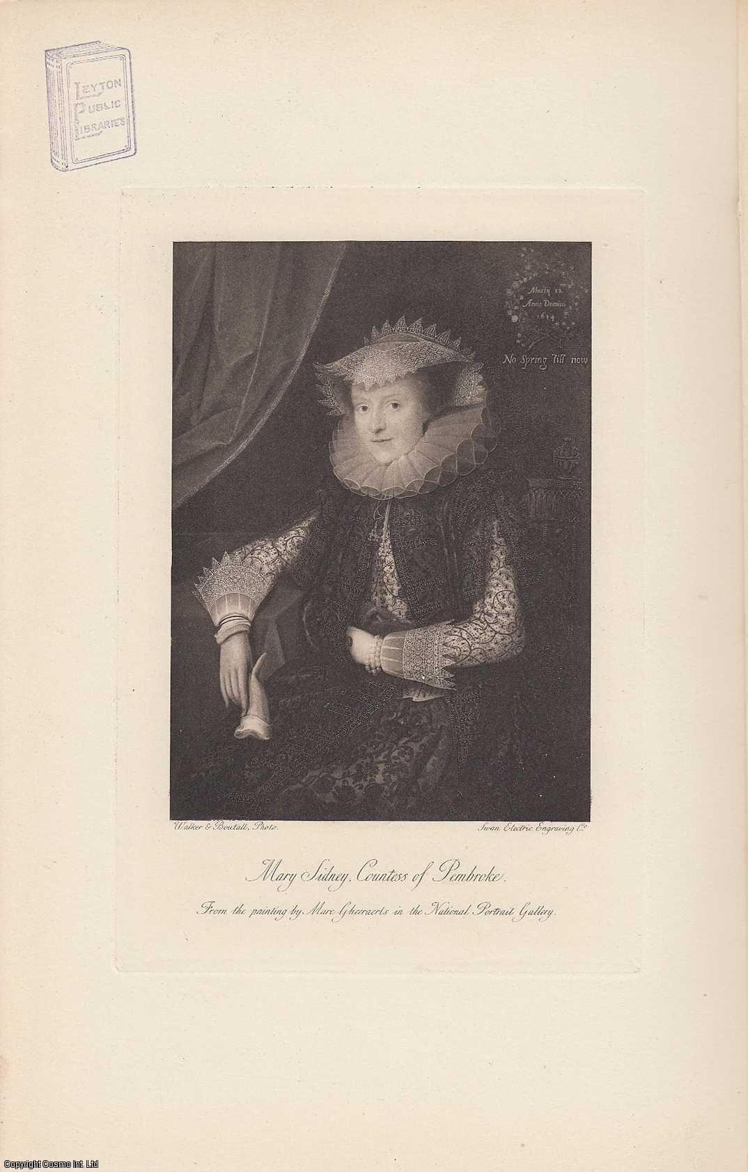 PORTRAIT. Mary Sidney. Countess of Pembroke. From the painting by Marc Gheeraerts., Cust, Lionel