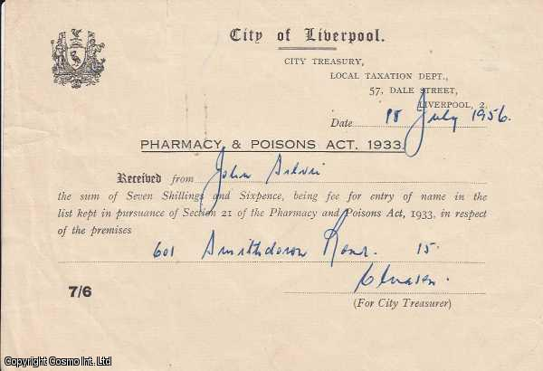 Pharmacy & Poisons Act, 1933 licence fee receipt. City of Liverpool., ---