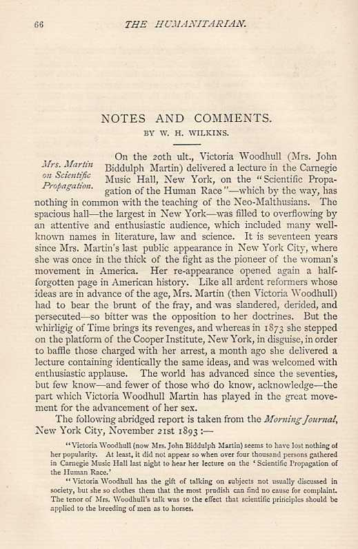 --- - Mrs Martin (Victoria C. Woodhull) on Scientific Propagation. A lecture delivered at the Carnegie Music Hall, New York, 20th November, 1893. An original article from The Humanitarian, A Monthly Review of Sociological Science, 1894.