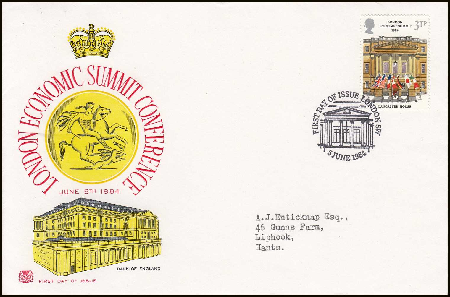 --- - London Economic Summit Conference, June 5th, 1984. Royal Mail Special Commemorative Issue First Day Cover. Franked London, First Day of Issue. 5th June 1984.