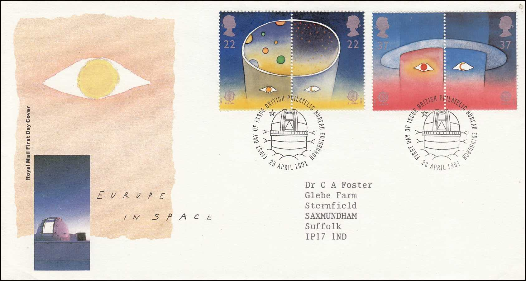 --- - Europe in Space. Royal Mail Special Commemorative Issue Cover. Franked Edinburgh, 23rd April 1991.
