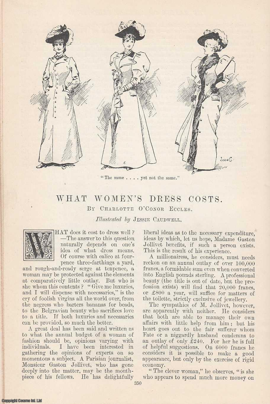 ECCLES, CHARLOTTE O'CONOR - What Women's Dress Costs. Illustrated by Jessie Caudwell. An original article from the Windsor Magazine, 1895.