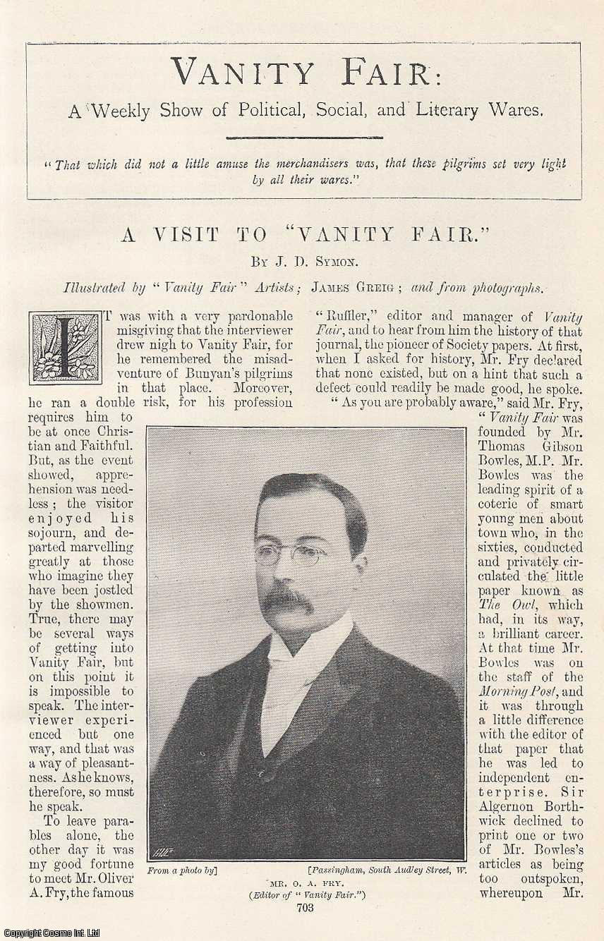 A Visit to Vanity Fair. A Weekly Show of Political, Social and Literary Wares. Vanity Fare Magazine. Illustrated by James Greig and from Photographs., Symon, J. D.